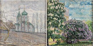 A DOUBLE-SIDED LANDSCAPE PAINTING BY ABRAHAM MANIEVICH (RUSSIAN 1883-1942)