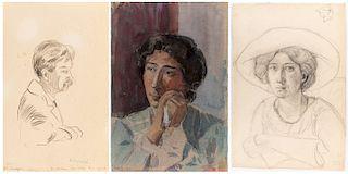A GROUP OF THREE PORTRAITS BY NIKOLAI LANCERAY (RUSSIAN 1879-1942)