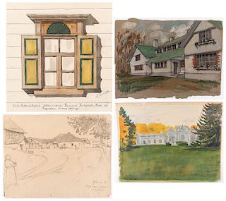 A GROUP OF FOUR ARCHITECTURAL DRAWINGS BY NIKOLAI LANCERAY (RUSSIAN 1879-1942)