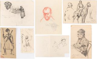 A GROUP OF 7 PORTRAIT DRAWINGS BY LANCERAY, BENOIS, SEREBRYAKOVA AND CHALIAPIN