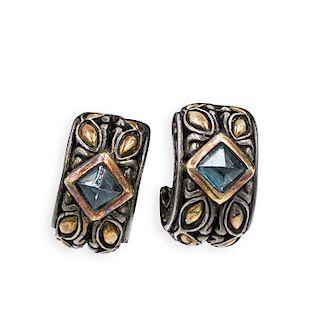 Pair Of John Hardy 18k and Sterling Earrings