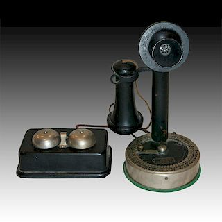 S.H. COUCH AUTOMATIC CANDLESTICK PHONE AND RINGER
