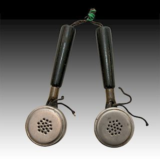 PAIR OF ANTIQUE METAL, BRASS AND WOOD SPOON RECEIVERS