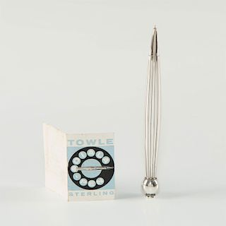 TOWLE STERLING SILVER PEN & ROTARY PHONE DIALER