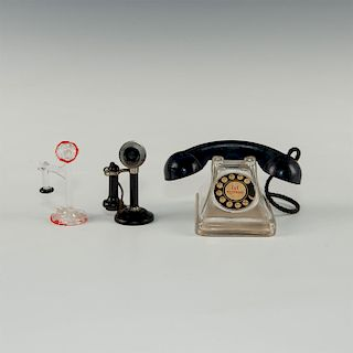 3 TOY GLASS AND MET MINIATURE TOY PHONES