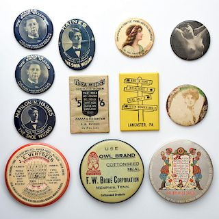 12 ANTIQUE VINTAGE CELLULOID ADVERTISING POCKET MIRRORS