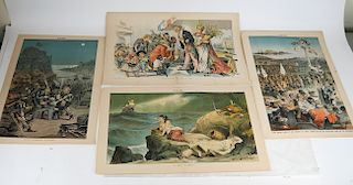 PUCK: Group of 5 Political Cartoons, Double Page