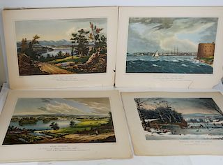 Currier & Ives Lithograph and 4 Color Lithographs