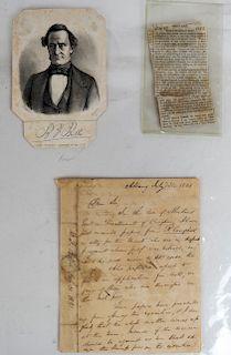 Letter Aaron Burr to Benj. F. Butler; Funeral Card