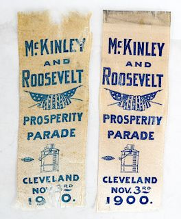 Two 1900 Campaign Ribbons: Roosevelt & McKinley