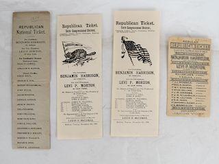 4 Harrison & Morton 1888 Republican Tickets