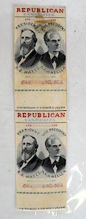 R.B. Hayes & W.A. Wheeler Uncut 1876 Stevengraphs