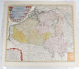 1747 Map Belgium Catholicum, Tobias Maier, Heritie