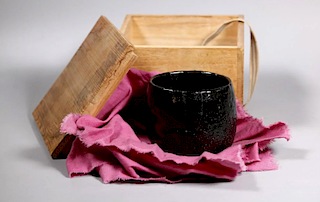 Black Raku Chawan, Momoyama or Early Edo Period