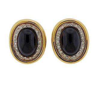 14K Gold Diamond Diamond Onyx Earrings