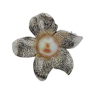 Sterling Silver Pearl Brooch Pin