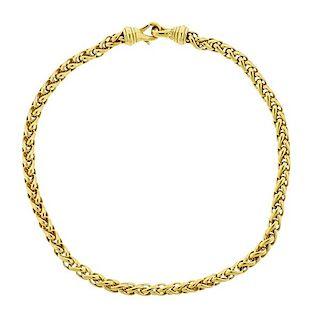 David Yurman 18K Gold Wheat Chain Necklace