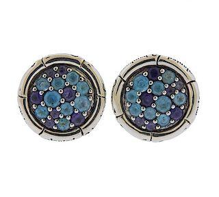John Hardy Silver Blue Topaz Iolite Stud Earrings