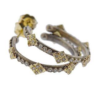 14K Gold Silver Diamond Hoop Earrings