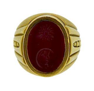 Kieselstein Cord 18K Gold Carnelian Intaglio Ring