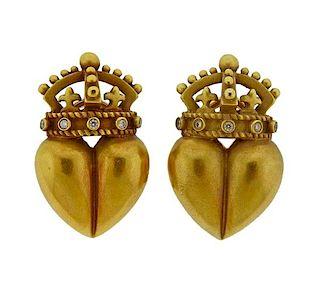 Kieselstein Cord 18K Gold Diamond Heart Crown Earrings
