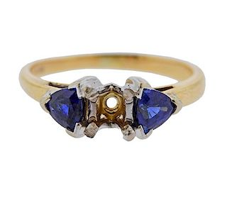 14K Gold Sapphire Ring Mounting