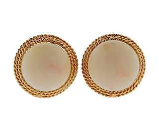 1960s 14k Gold Coral Earrings