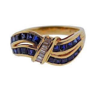 14k Gold Diamond Sapphire Wave Ring