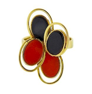 18k Gold Coral Onyx Ring