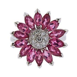 14k Gold Diamond Pink Tourmaline Sunflower Ring