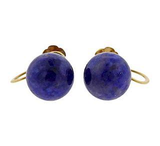 Tiffany & Co Retro 14k Gold Lapis Earrings