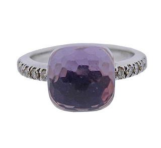 18k Gold Pink Gemstone Diamond Ring