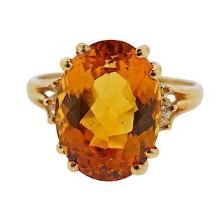 14k Gold Citrine Diamond Ring