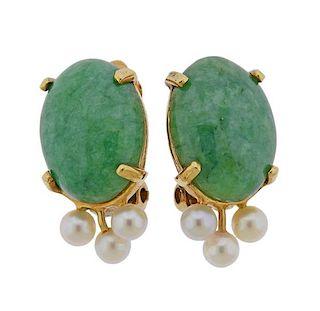 14k Gold Jade Pearl Earrings