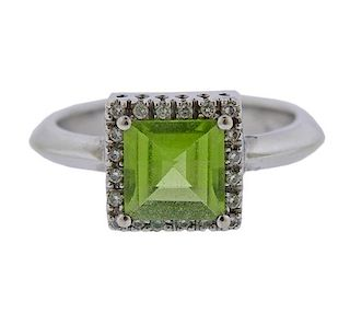 14k Gold Diamond Peridot Ring
