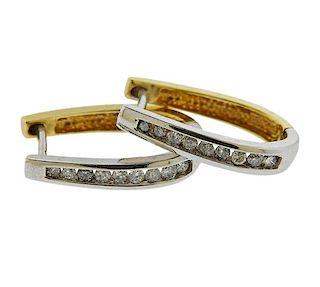 14k Two Tone Gold Diamond Hoop Earrings