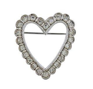 14k Gold Diamond Heart Brooch Pin