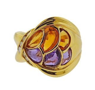 18k Gold Diamond Citrine Amethyst Ring