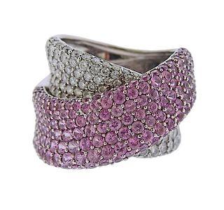 14k Gold Pink Sapphire Diamond Crossover Ring