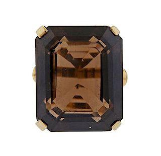 Retro 81 Carat Smokey Quartz 14k Gold Ring