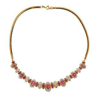 18K Gold Diamond Ruby Necklace