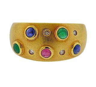 18K Gold Diamond Gemstone Half Band Ring