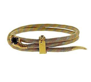 14K Gold Onyx Snake Bracelet