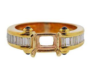18K Gold Diamond Sapphire Ring Mounting