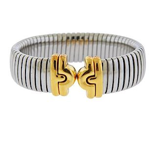 Bvlgari Bulgari Tubogas 18k Gold Steel Bracelet