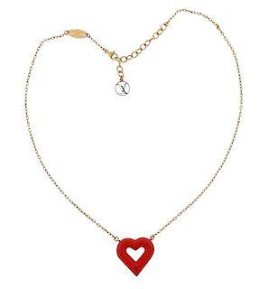 Louis Vutton Red Heart Pendant Necklace