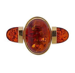 14K Gold Amber Brooch Pin