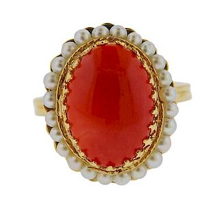 14k Gold Coral Pearl Ring