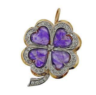 14K Gold Diamond Amethyst Clover Brooch Pendant