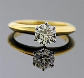 Tiffany & Co Gold Platinum 0.91ct Diamond Engagement Ring